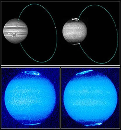 Jupiters Polarlichter und deren ringförmige Verbindung mit Io