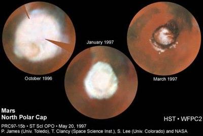 Rückzug der nördlichen Marspolarkappen